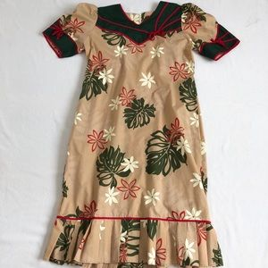 Vintage Hawaiian tropical print slip on dress SZ:M
